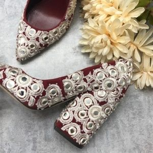 NEW Tory Burch Tuscan Wine Suede/Textile Pumps